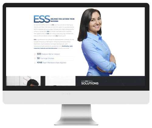 Essential Staffing Solutions website design by Infinite Creations Atlanta