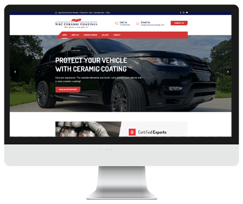 Nac Ceramic Coatings website design by Infinite Creations Atlanta