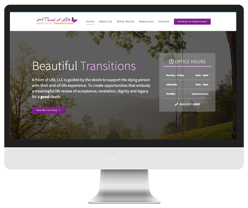 A point of life website design by Infinite Creations Atlanta