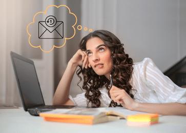 A woman thinking about copywriting ideas